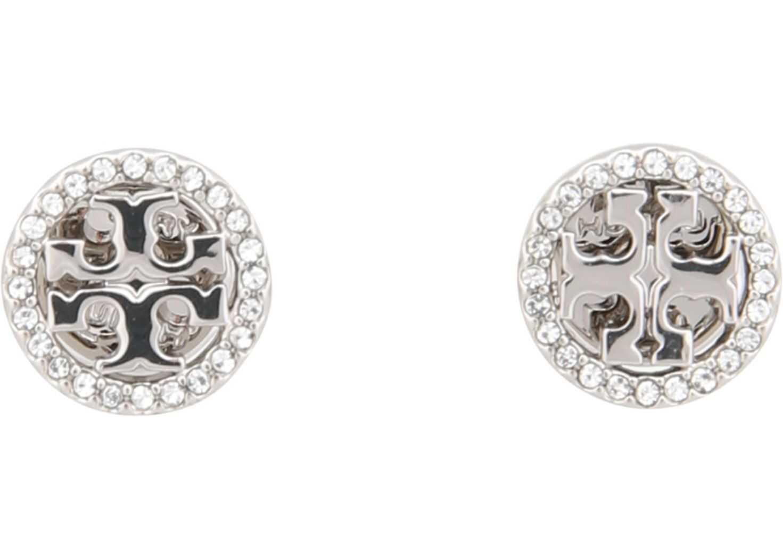 Tory Burch Circle-Stud Crystal Logo Earrings SILVER