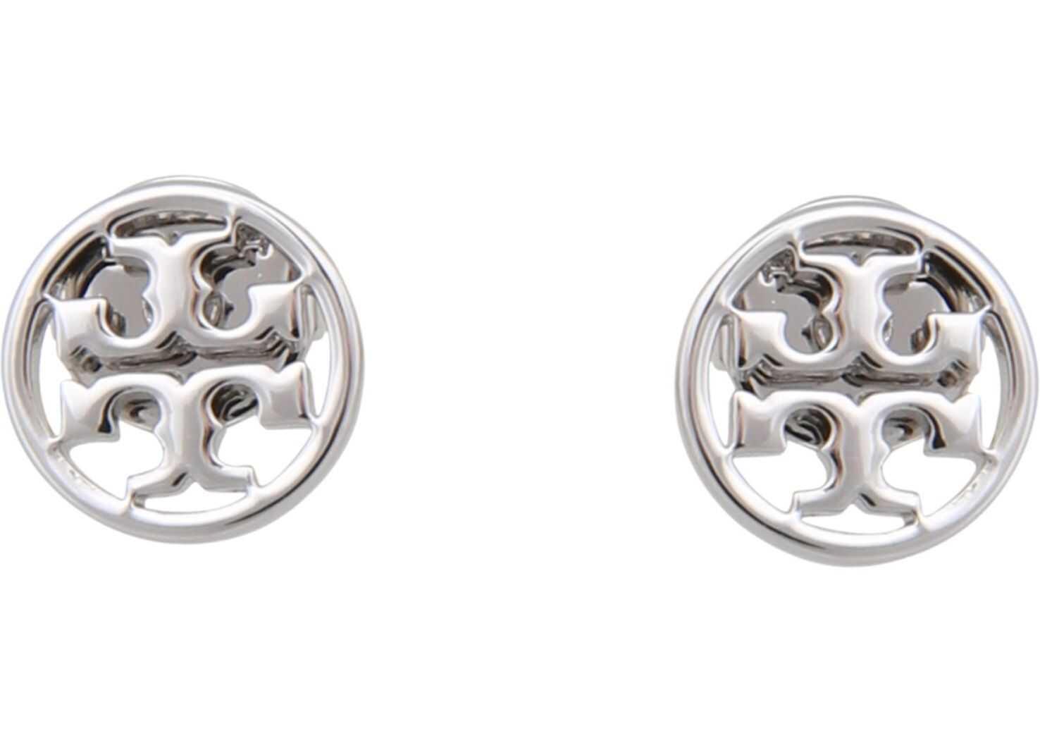 Tory Burch Circle-Stud Logo Earrings SILVER