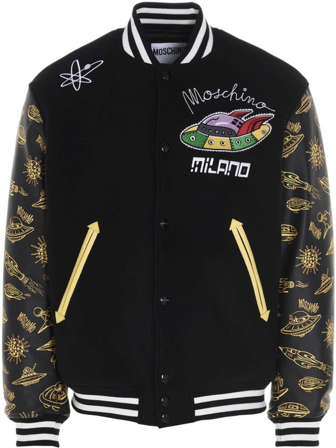 Moschino Moschino Galaxy Bomber Jacket In Black Black imagine