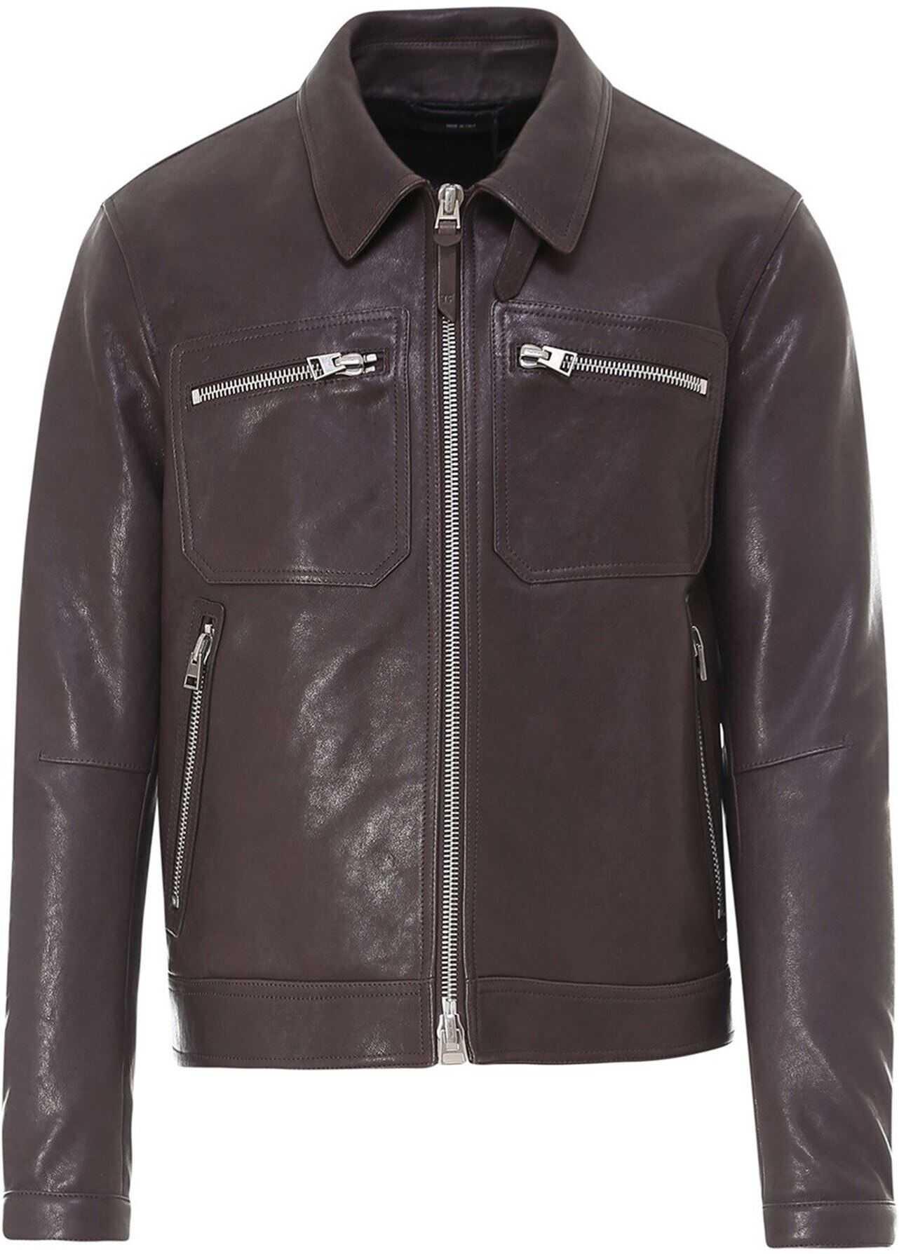Tom Ford Leather Biker Jacket In Brown Brown imagine
