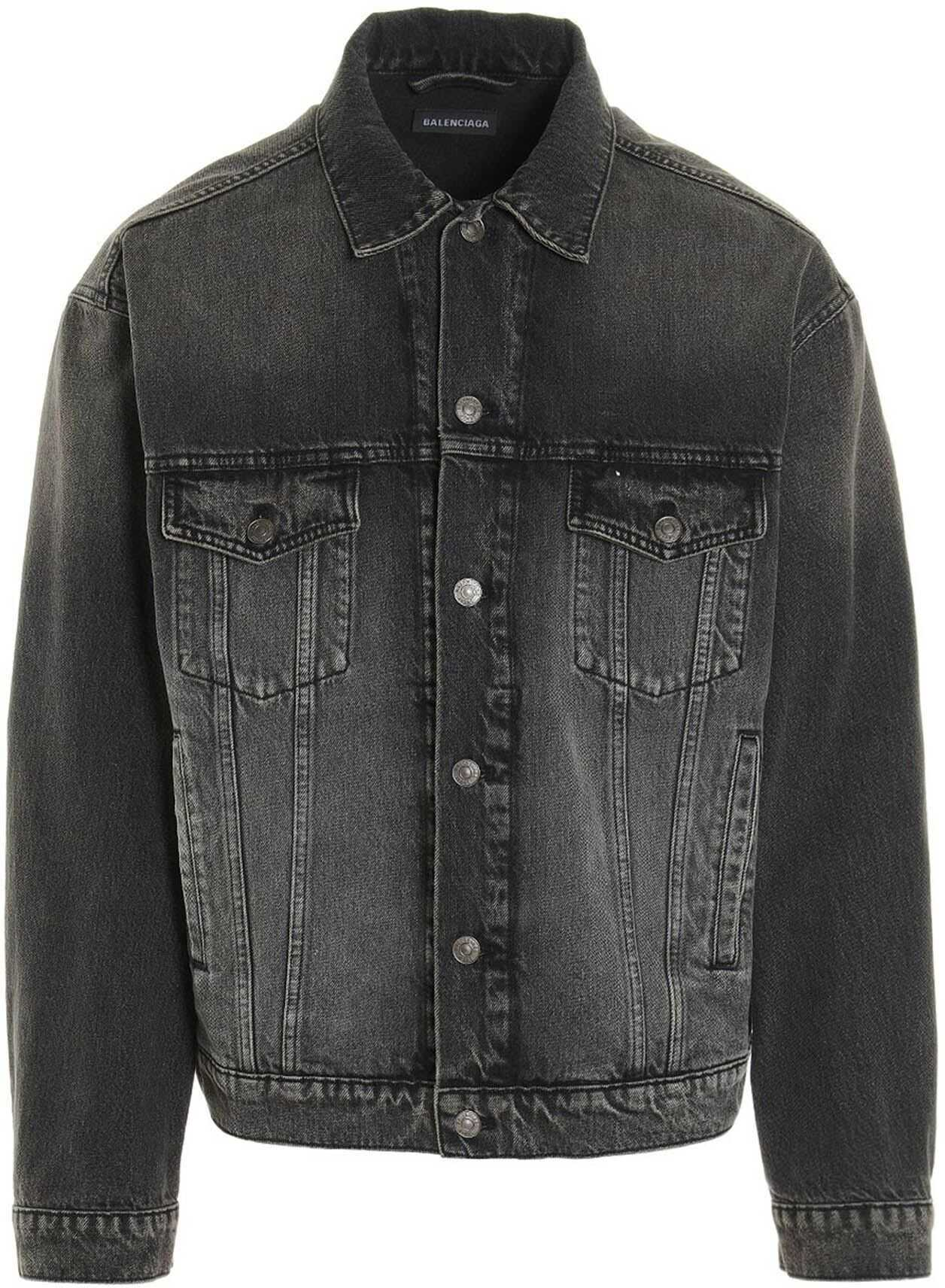 Balenciaga Notre Dame Printed Denim Jacket In Black Grey imagine