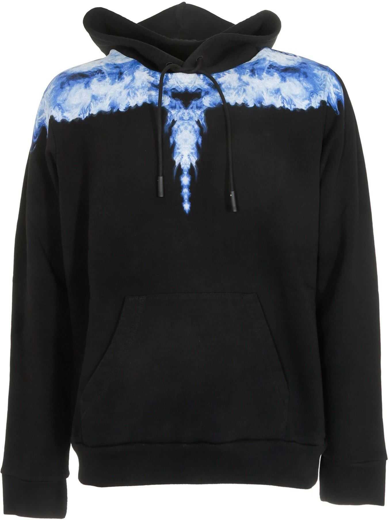 Marcelo Burlon Smoke Wings Hoodie In Black And Blue Black imagine