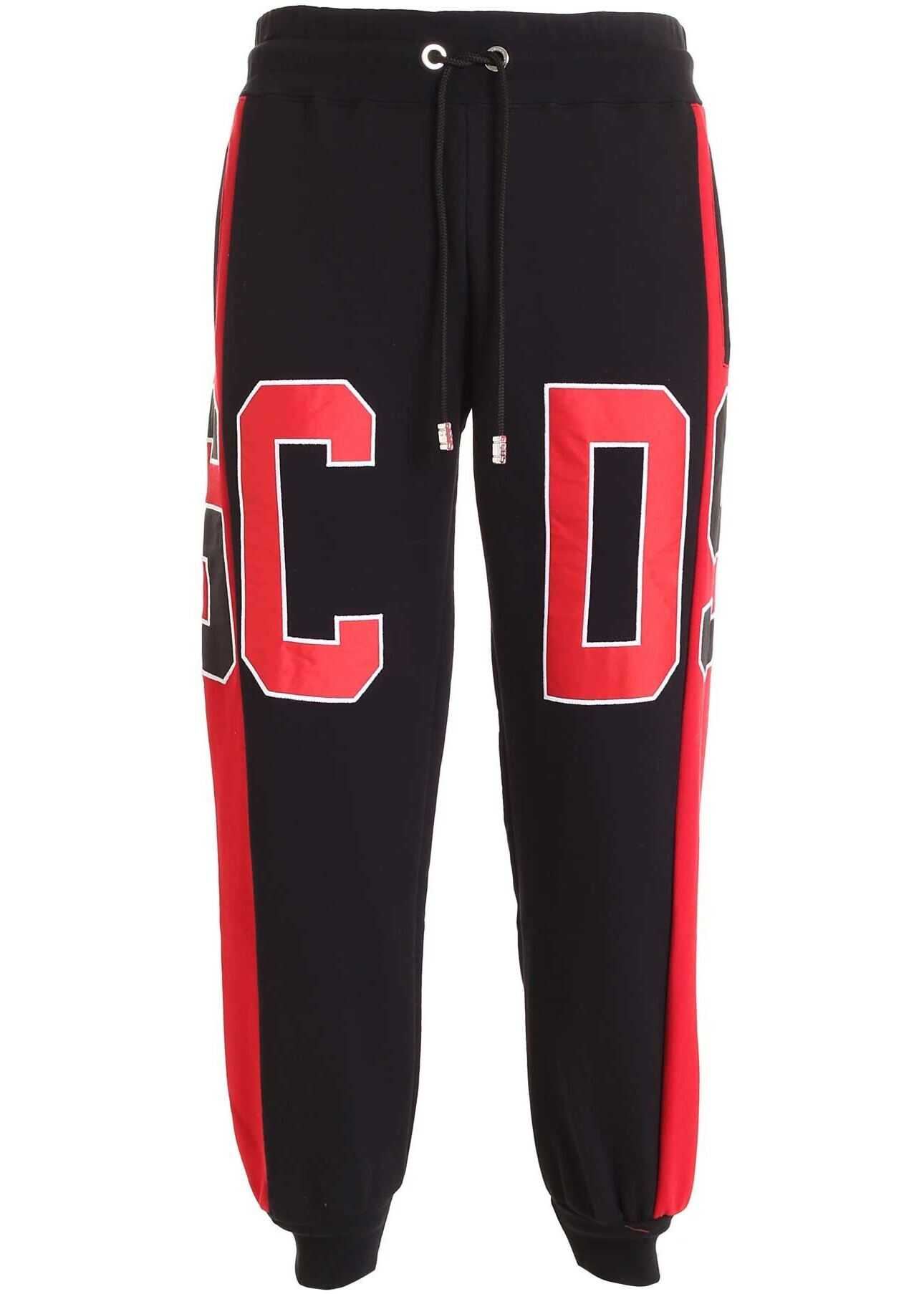 GCDS Maxi Logo Pants In Black And Red Black imagine