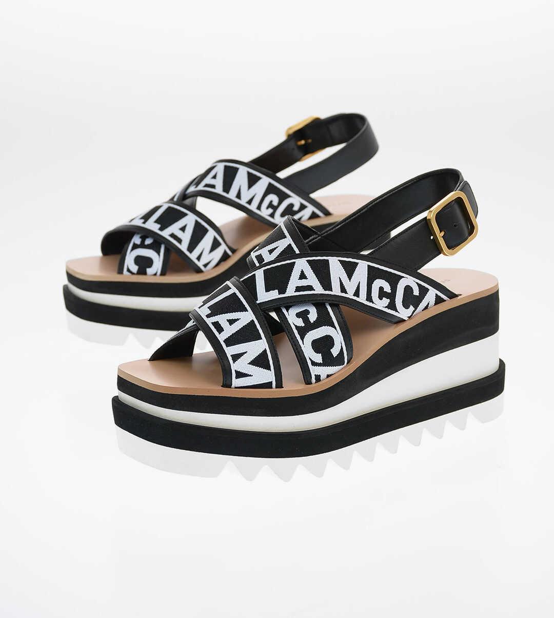 Stella McCartney All Over Logo Platform Sandals 8cm BLACK imagine b-mall.ro