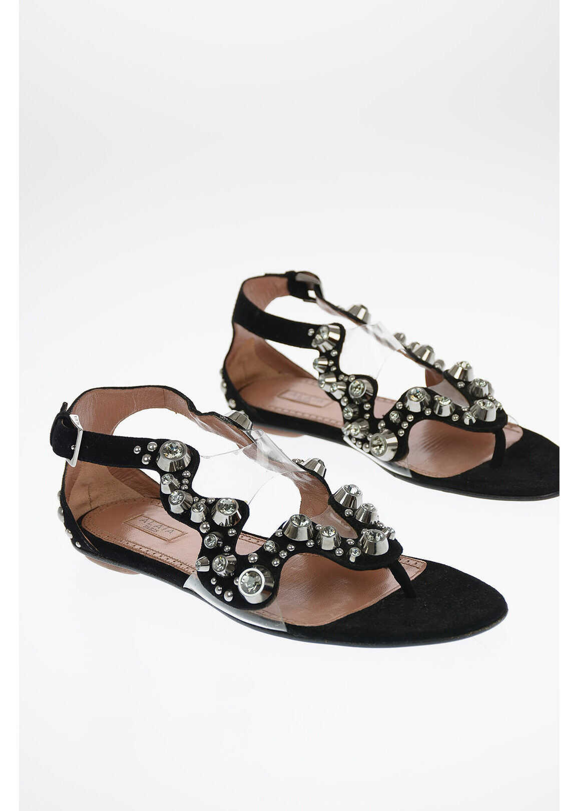 Alaïa Suede Thong Sandals with Jewel Studs BLACK imagine b-mall.ro