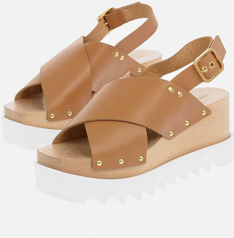 Stella McCartney Wood Platform PERCY Sandals 7cm BROWN imagine b-mall.ro