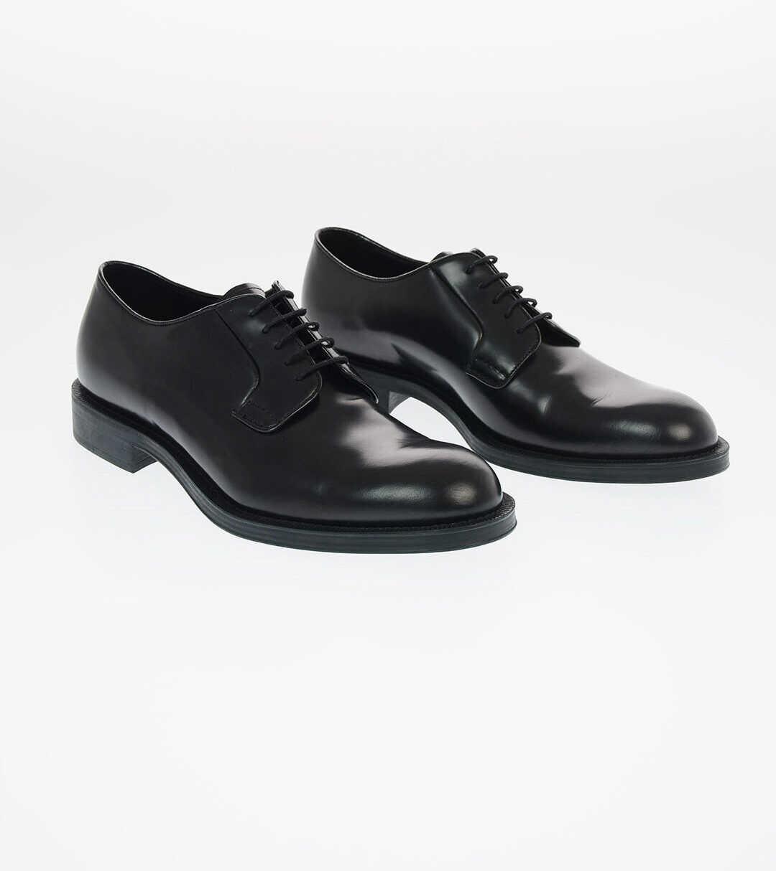 Prada Brushed Leather Derby Shoes BLACK imagine b-mall.ro