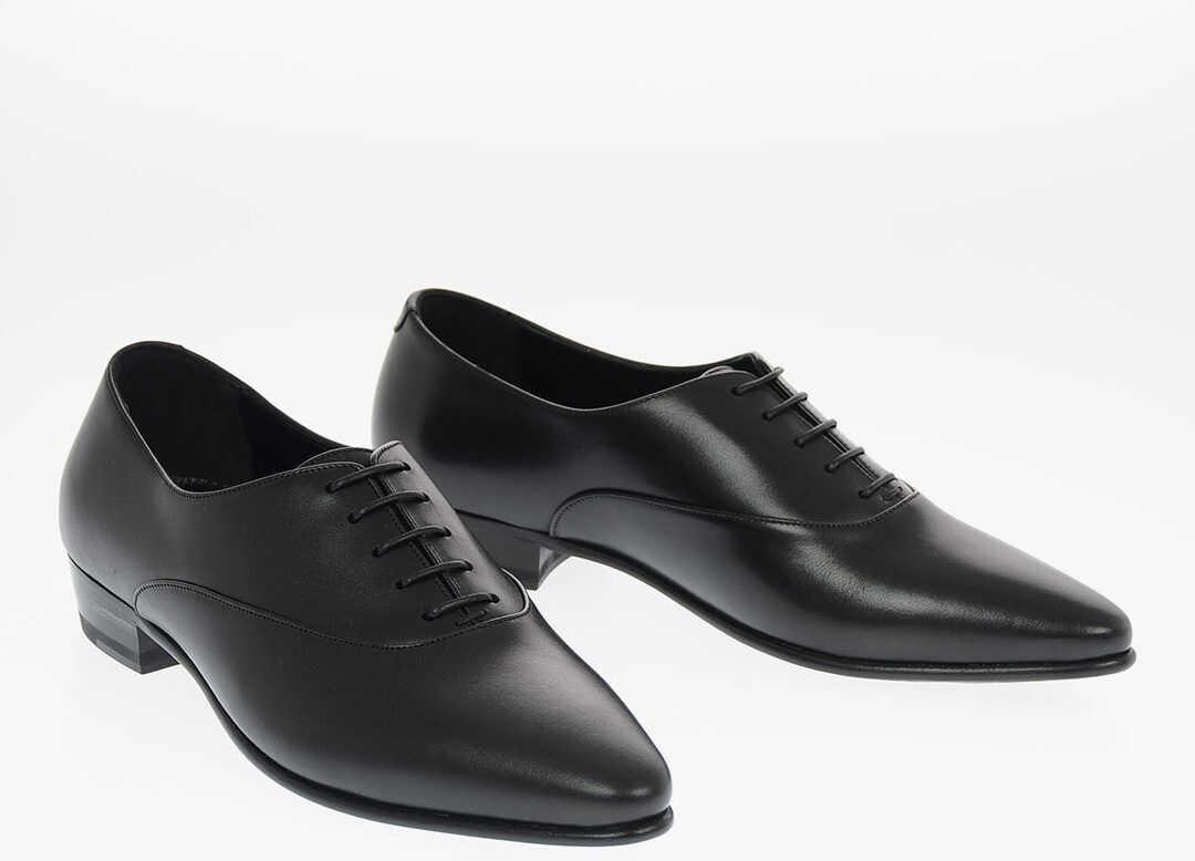 Céline Leather Oxford Shoes BLACK imagine b-mall.ro