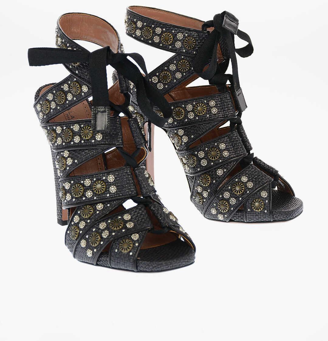 Alaïa Straw Sandals with Jewel Studs Applied 12cm BLACK imagine b-mall.ro