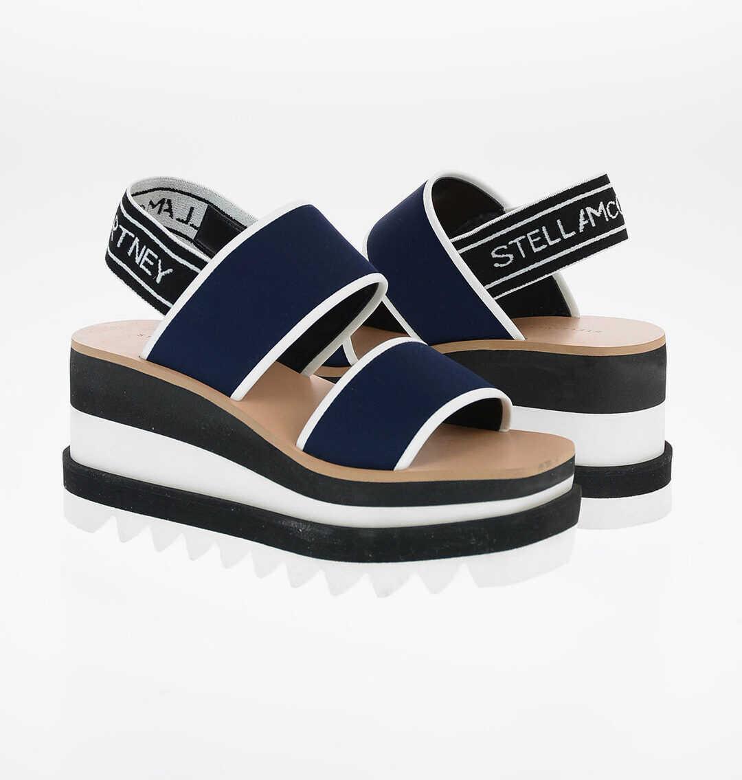Stella McCartney Stretchy Fabric Platform Sandals 8cm BLUE imagine b-mall.ro