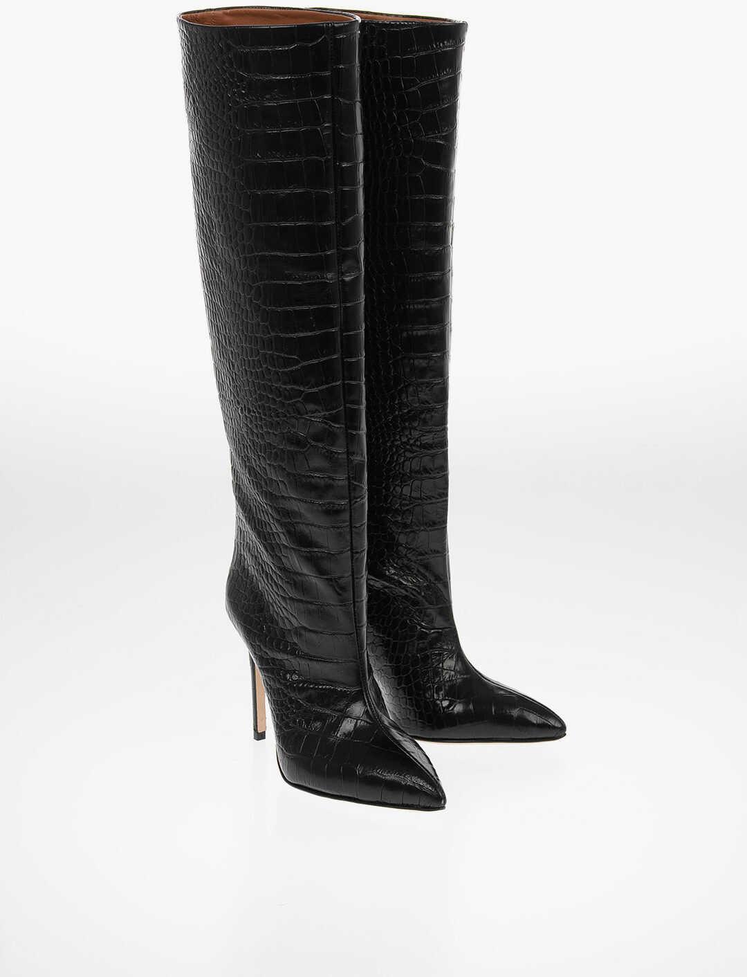 Paris Texas Croco Printed Leather Pull On Knee High Boots 10cm BLACK imagine b-mall.ro