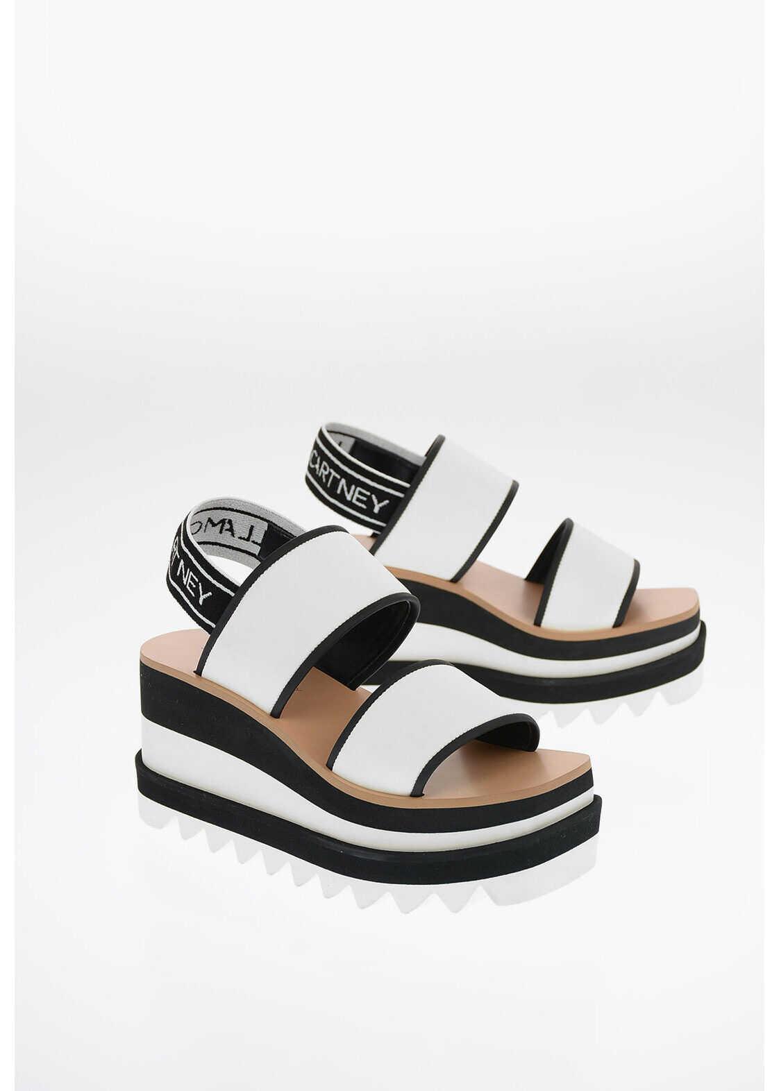 Stella McCartney Platform Sandals with Stretchy Strap 8cm BLACK & WHITE imagine b-mall.ro