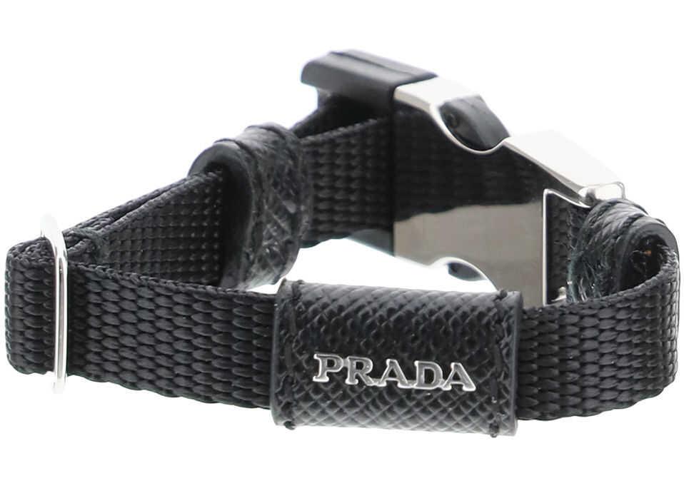 Prada Belt Buckle Nylon Bracelet NERO