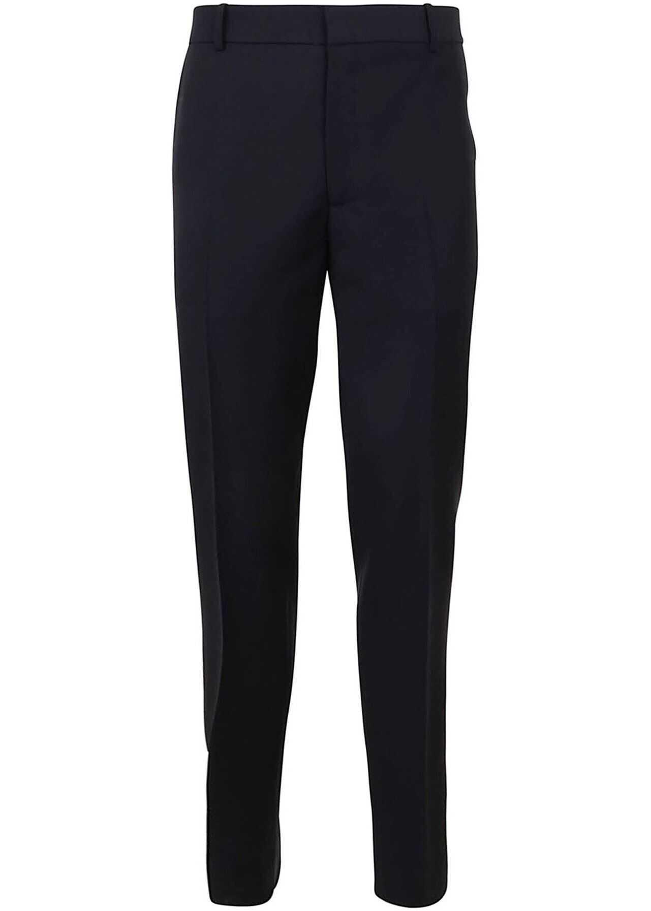 Alexander McQueen Wool-Mohair Blend Trousers In Blue Blue imagine