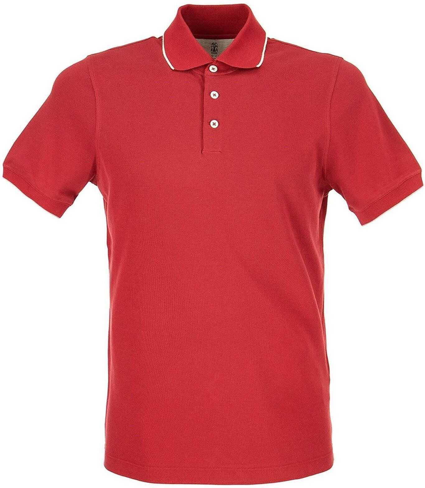 Brunello Cucinelli Cotton Polo In Red Red imagine