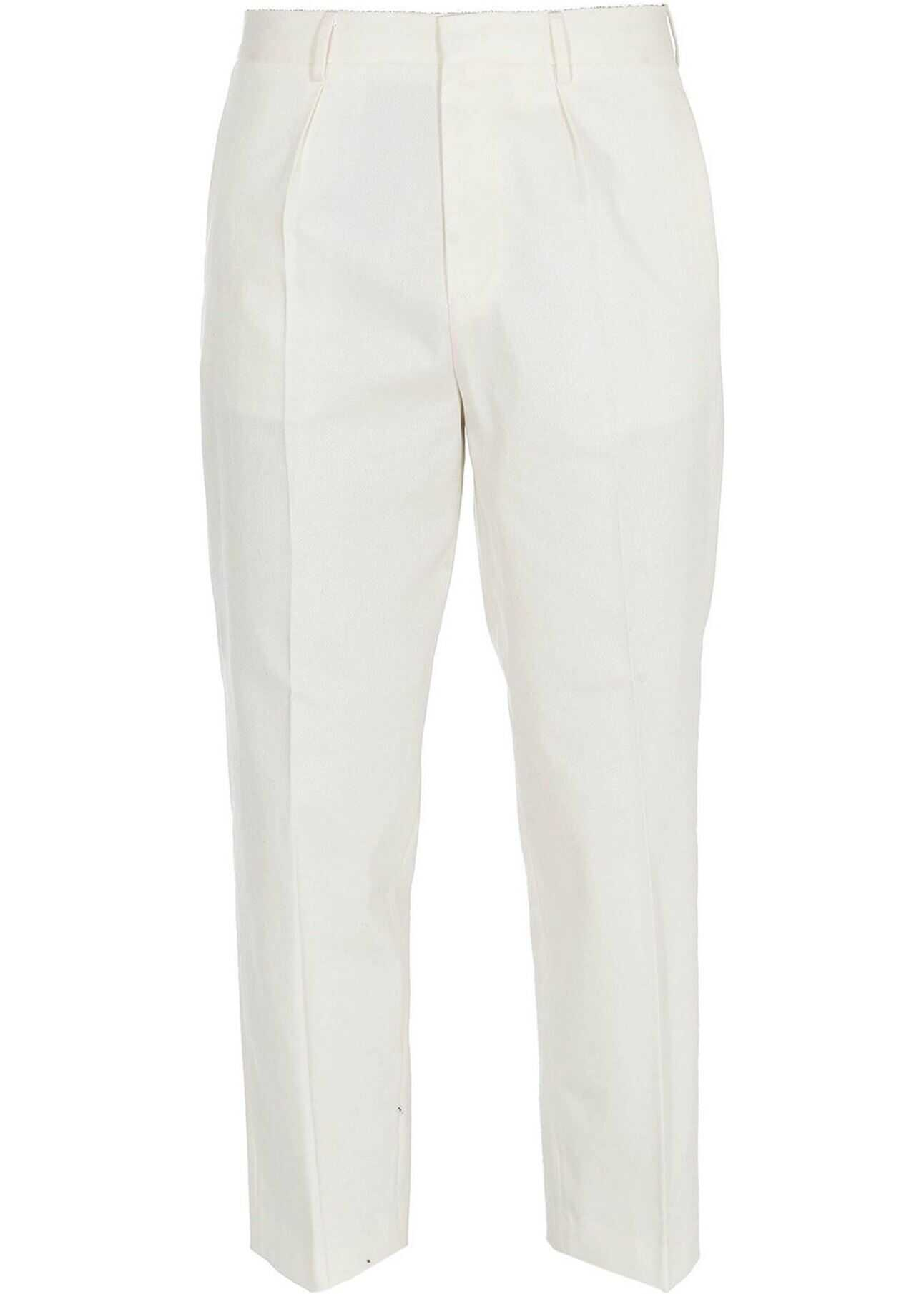GCDS Twill Cotton Cropped Trousers In White White imagine