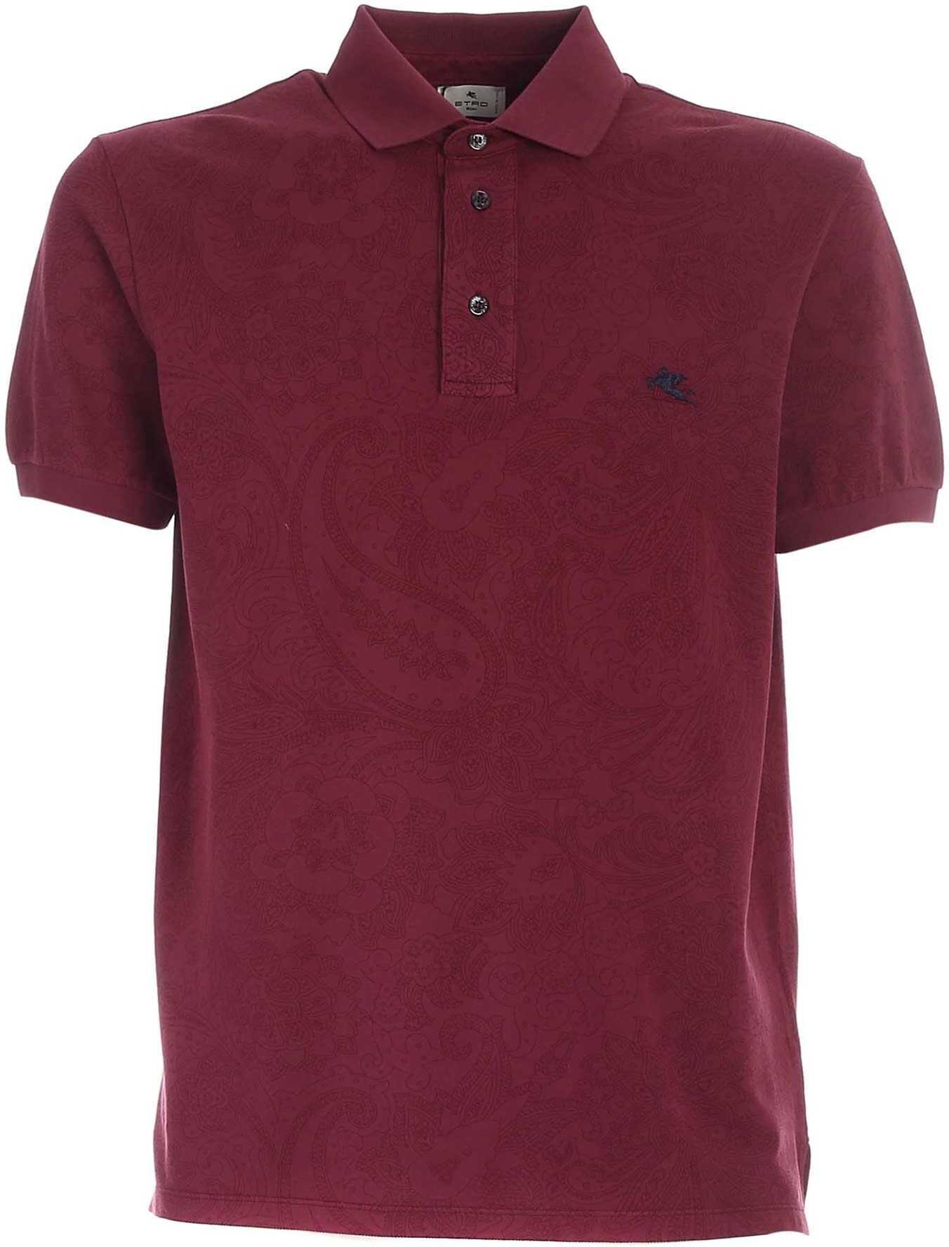 ETRO Floral Pattern Polo Shirt In Burgundy Color Red imagine
