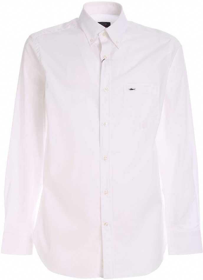 Paul&Shark Logo Detail Shirt In White Blue imagine