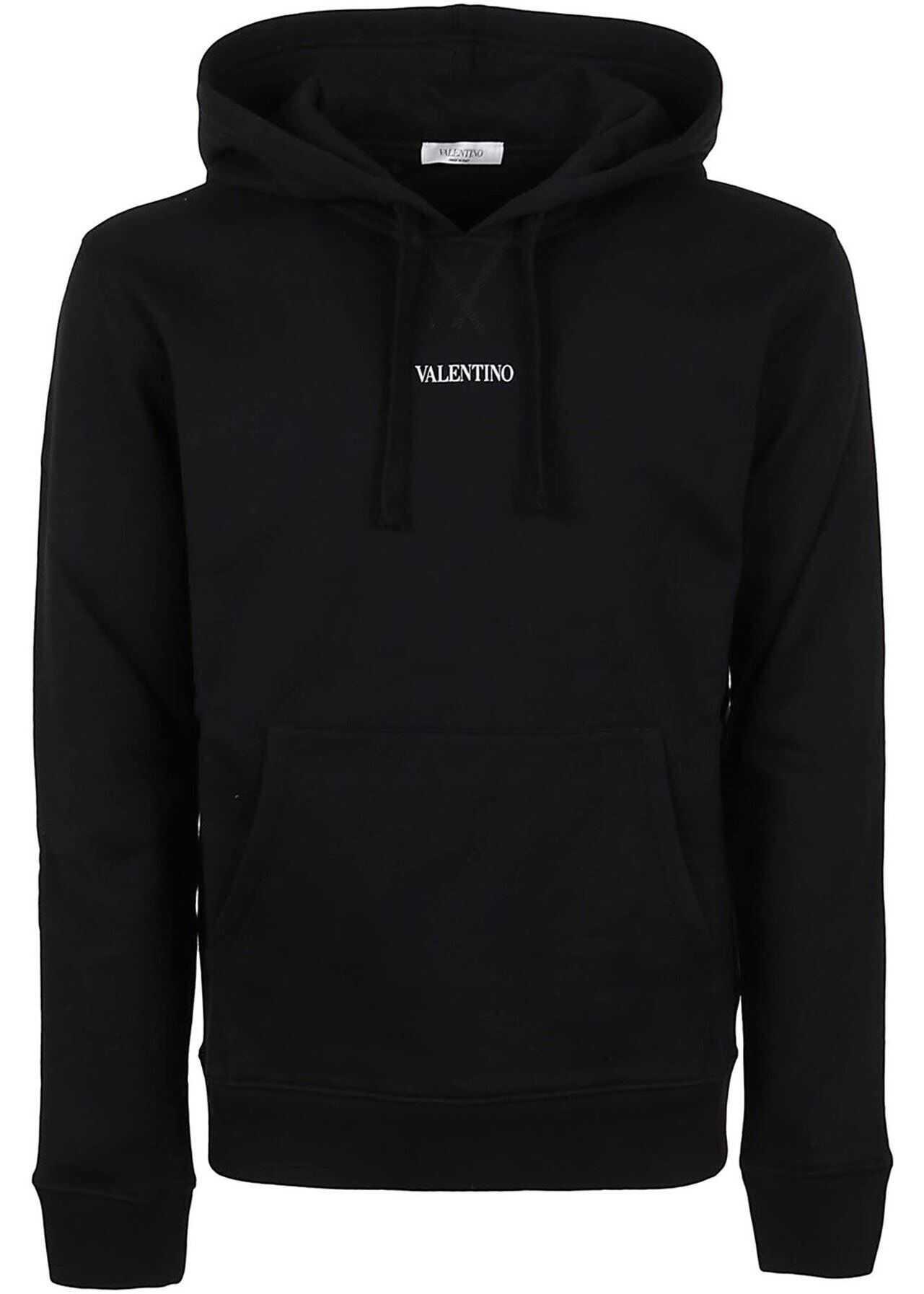 Valentino Garavani Vltn Print Cotton Hoodie In Black Black imagine