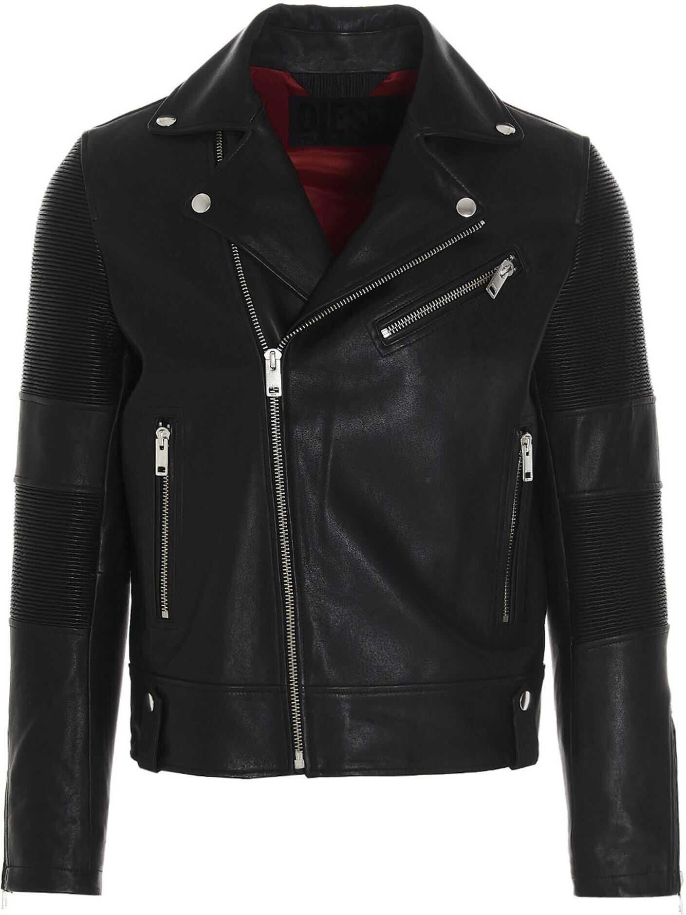 Diesel L-Starkville Leather Jacket In Black Black imagine