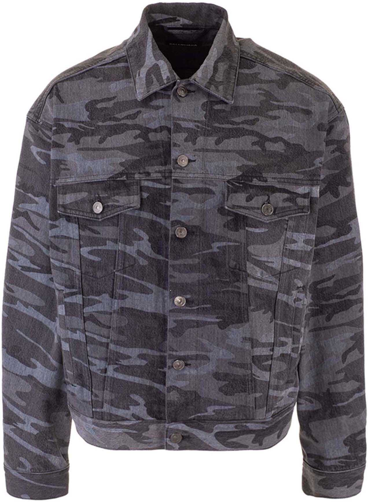 Balenciaga Camouflage Denim Jacket In Black Black imagine