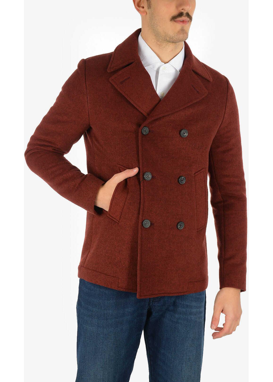 CORNELIANI 3-button double breasted Chesterfield coat RED imagine