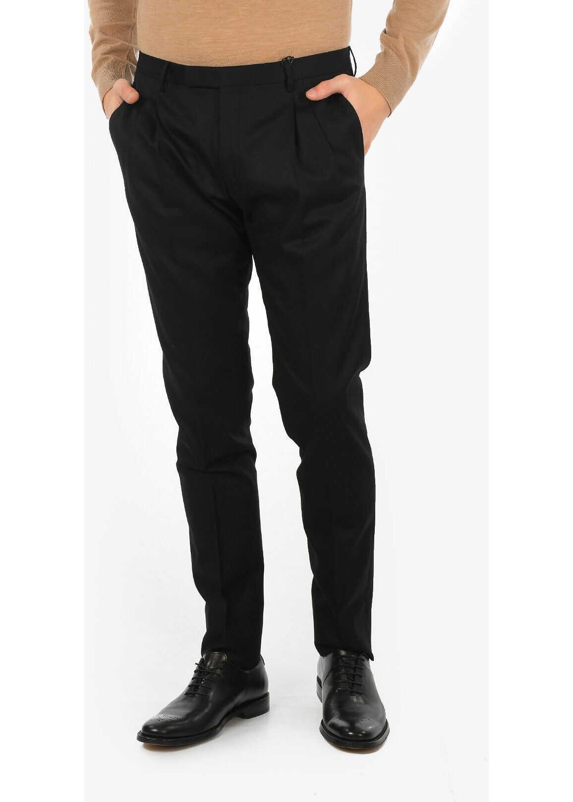 CORNELIANI CC COLLECTION virgin wool REWARD pants BLACK imagine