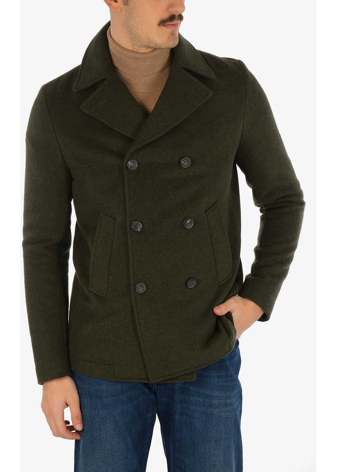 CORNELIANI 3-button double breasted Chesterfield coat GREEN imagine