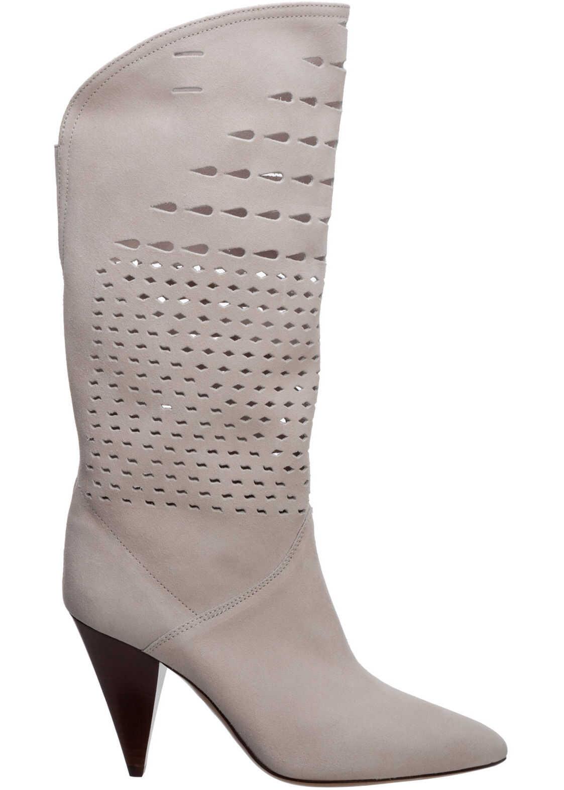 Isabel Marant Heel Boots BO029220WH White imagine b-mall.ro