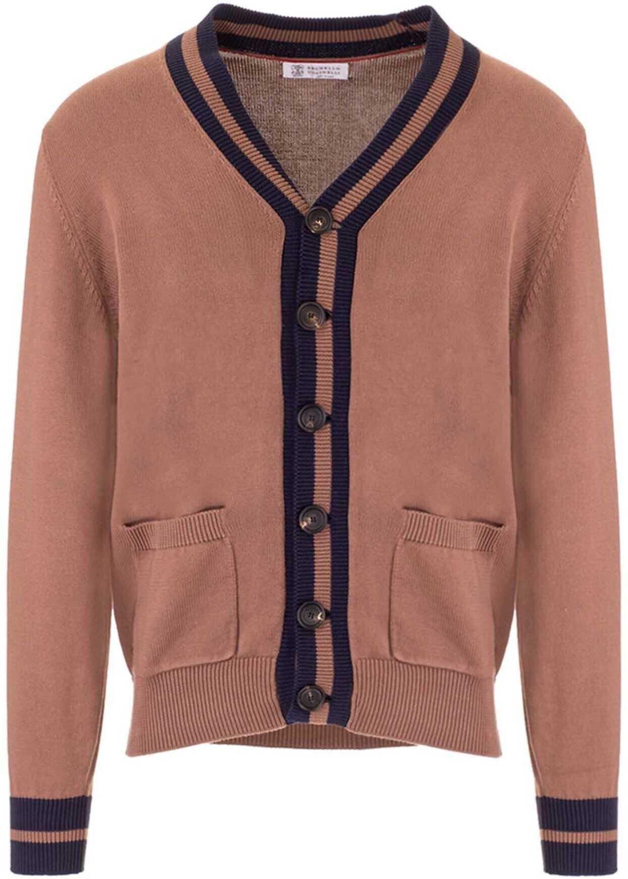 Brunello Cucinelli Striped Profile Cardigan In Brown Brown imagine