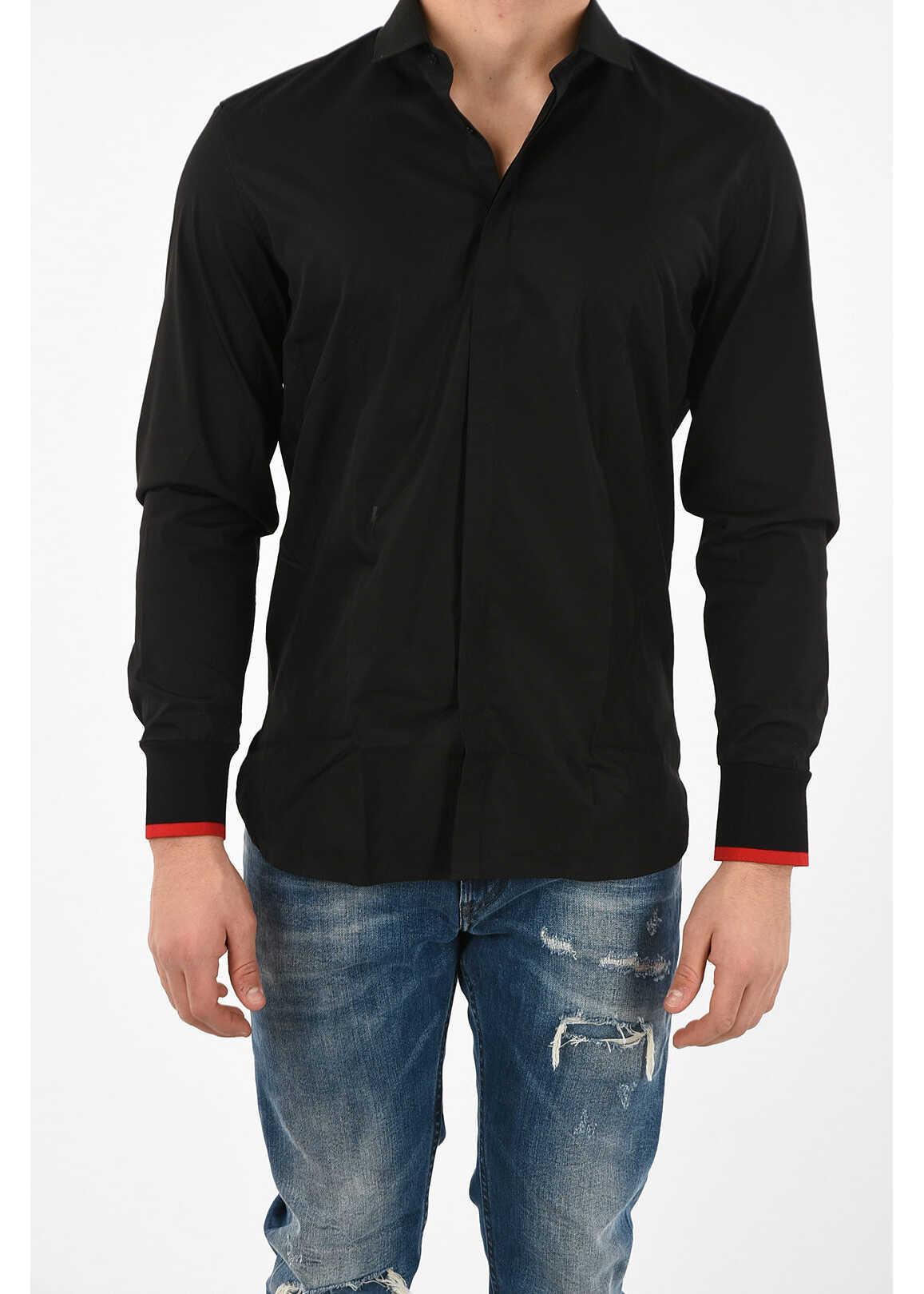 Neil Barrett Contrasting Cuff Slim Fit Shirt BLACK imagine