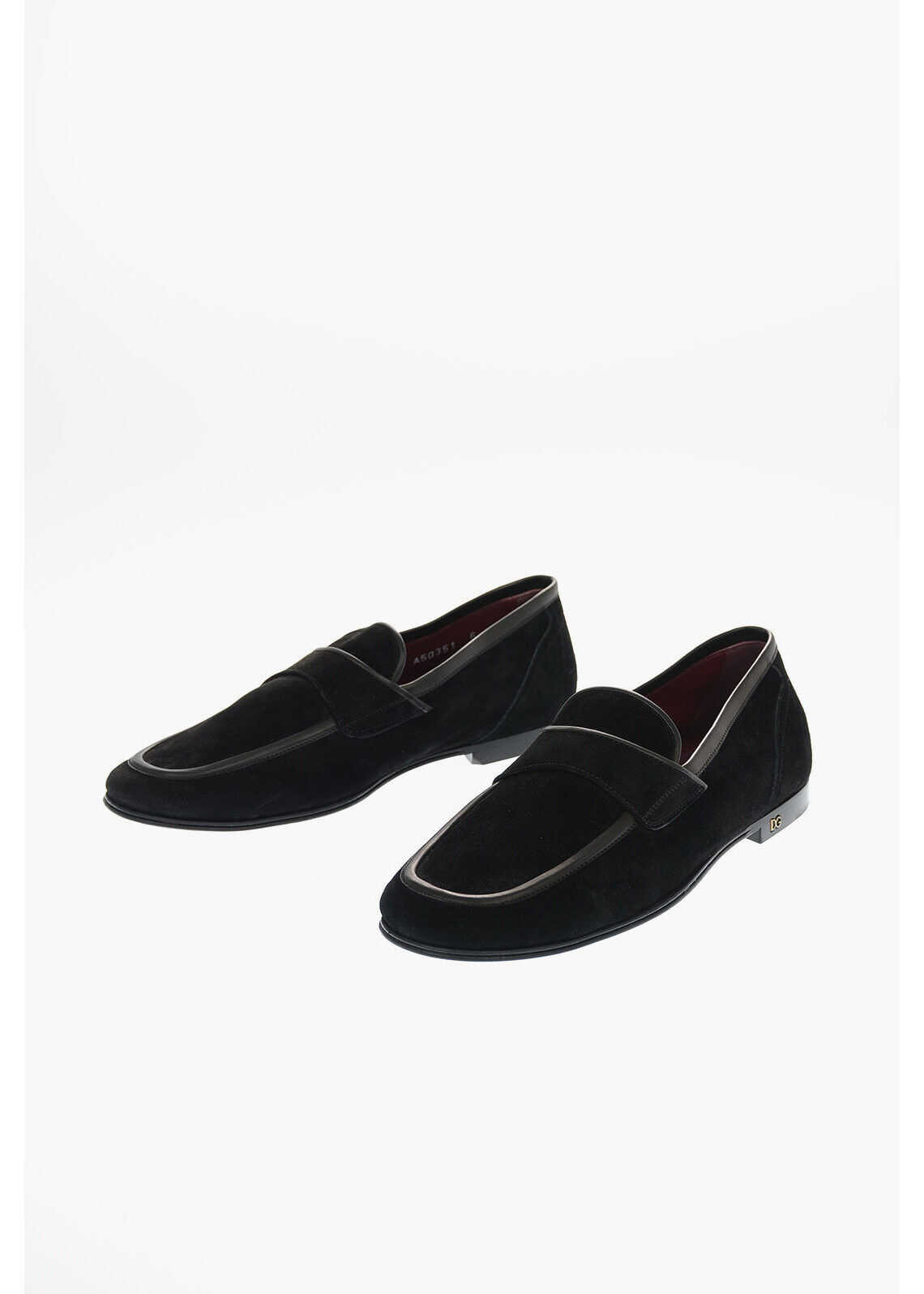 Dolce & Gabbana Suede ERICE Loafers BLACK imagine b-mall.ro