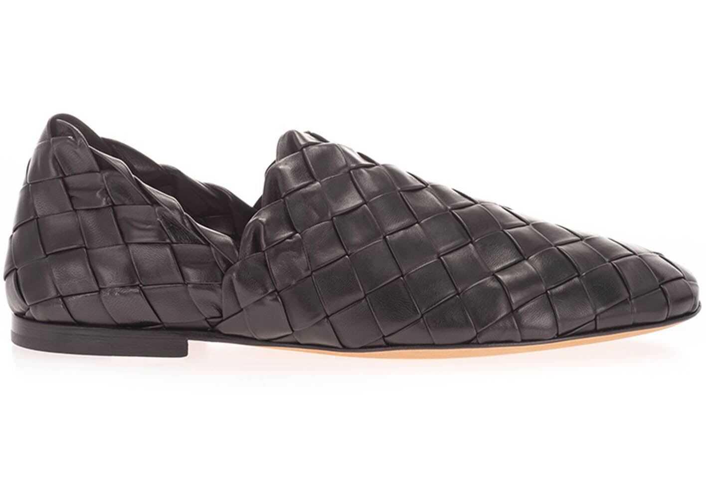Bottega Veneta Woven Leather Loafers In Black 620304VBTR01000 Black imagine b-mall.ro