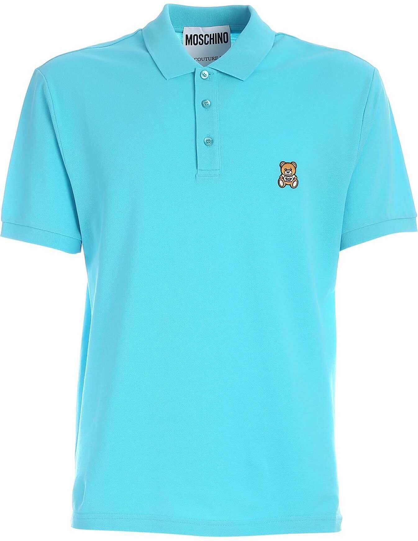 Moschino Teddy Bear Patch Polo Shirt In Light Blue Light Blue imagine
