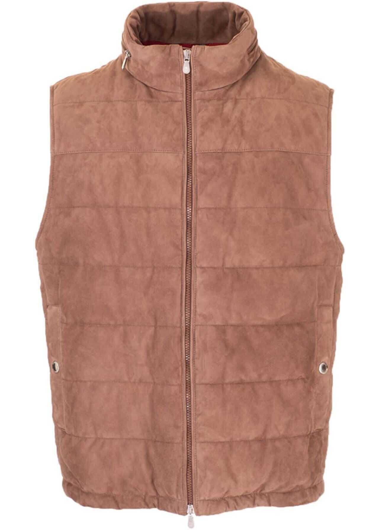 Brunello Cucinelli Padded Vest In Cocoa Color Brown imagine