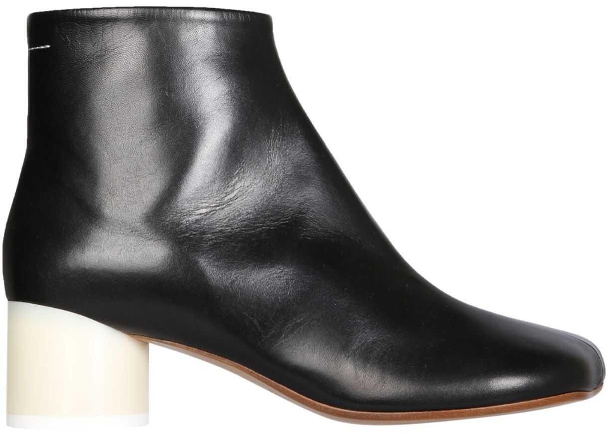 "MM6 Maison Margiela ""6"" Low Heel Boots S59WU0173_PR331T8013 BLACK imagine b-mall.ro"
