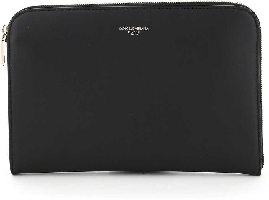 Dolce & Gabbana Zipped Calfskin Pouch BM1751 AC954 NERO imagine b-mall.ro