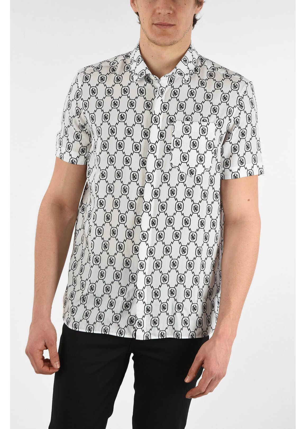 Neil Barrett Short Sleeve ALL-OVER MONOGRAM Spread Collar Shirt with Patc WHITE imagine