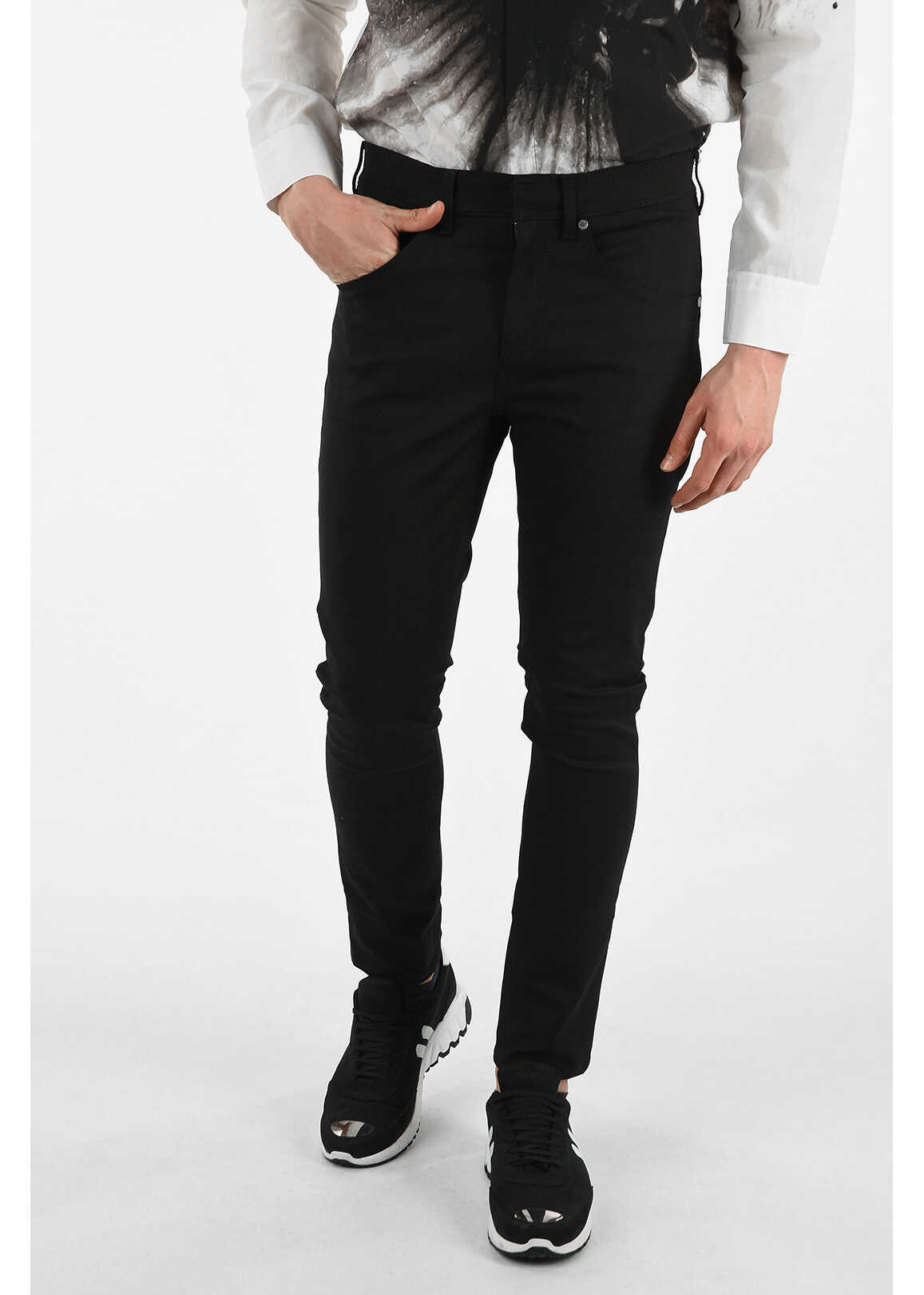 Neil Barrett Utility Super Skinny Fit Jeans with Hidden Closure 16 cm BLACK imagine