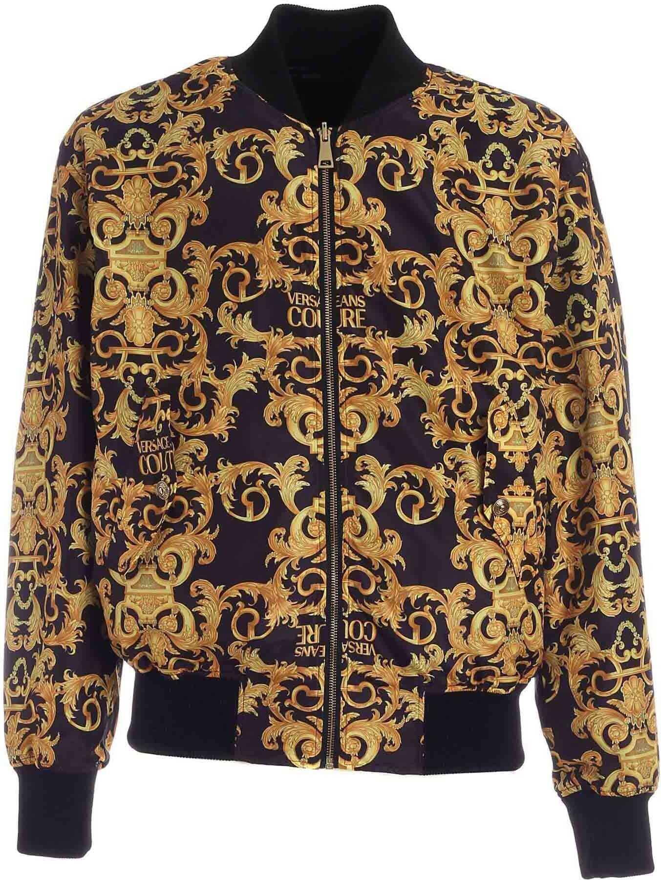 Versace Jeans Couture Logo Baroque Print Bomber Jacket In Black Black imagine