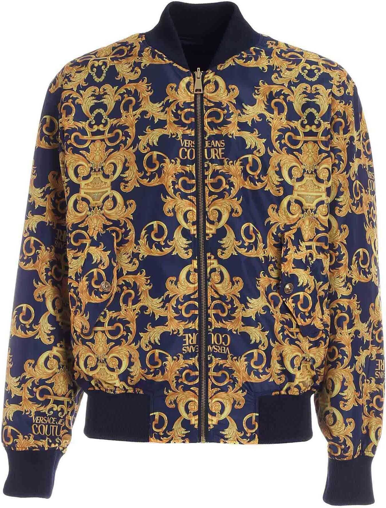 Versace Jeans Couture Logo Baroque Print Bomber Jacket In Blu Blue imagine
