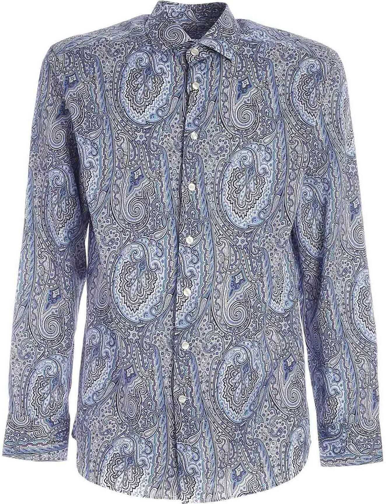 ETRO Paisley Pattern Shirt In Blue Blue imagine