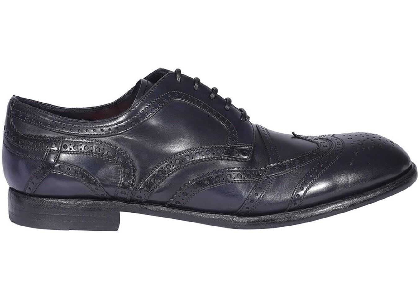 Dolce & Gabbana Leather Derby Shoes In Blue A10665A182887577 Blue imagine b-mall.ro