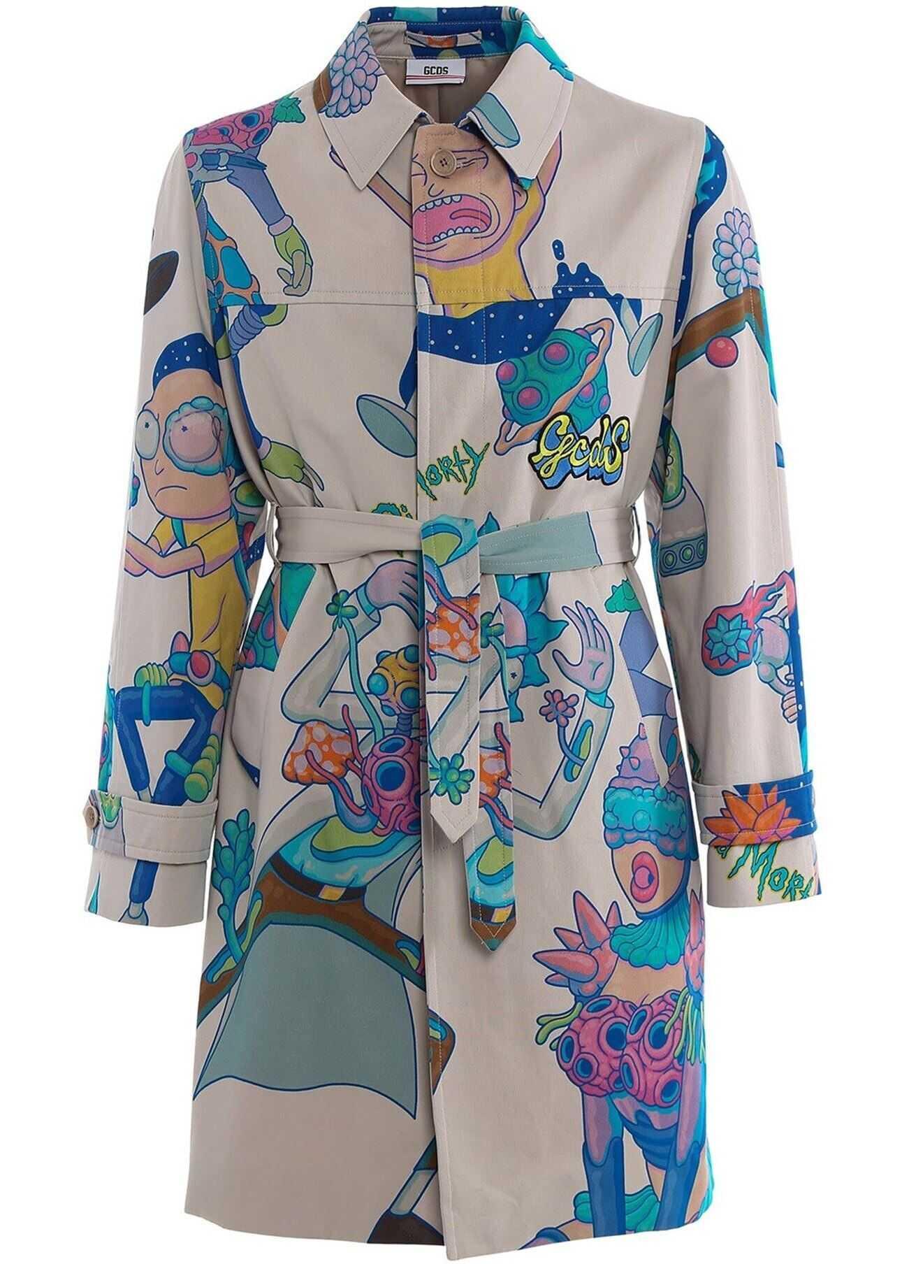 GCDS Rick And Morty Multicolor Trench Coat Multi imagine