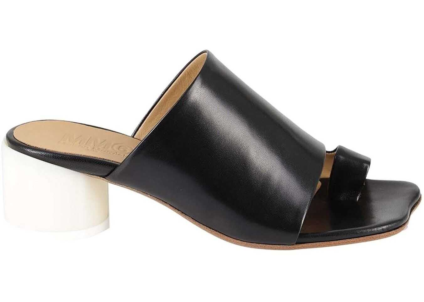 MM6 Maison Margiela Leather Thong Mules In Black S59WP0136PR331T8013 Black imagine b-mall.ro