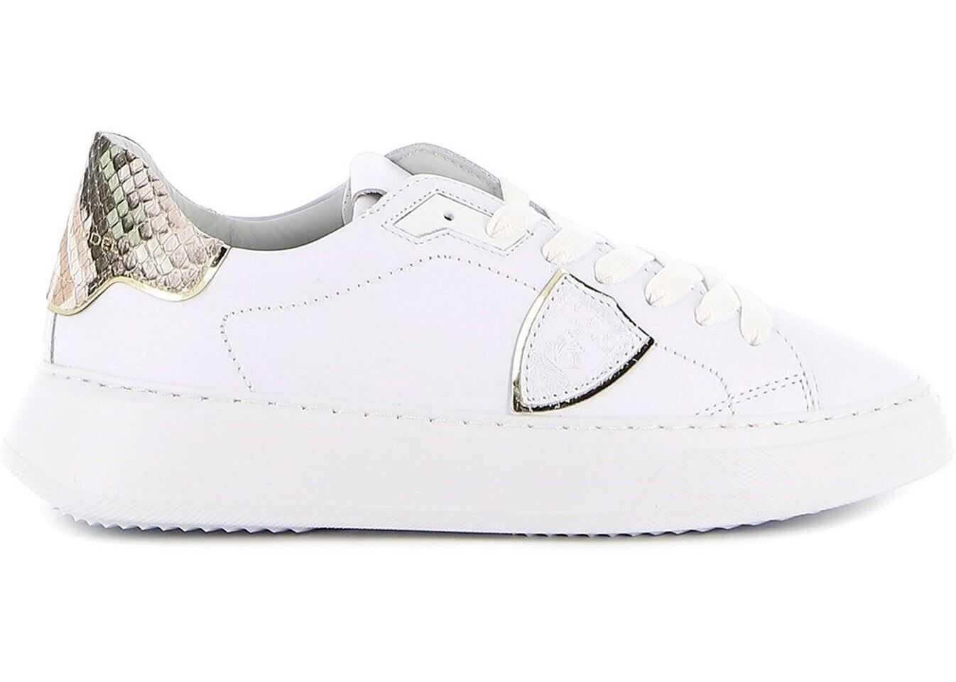 Philippe Model Temple Sneakers In White BTLDVA02 White imagine b-mall.ro