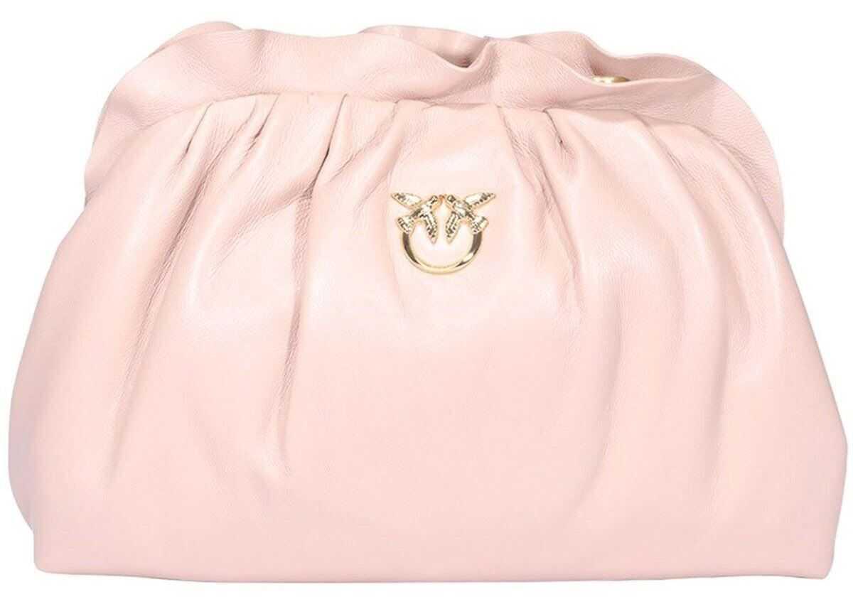 Pinko Love Birds Metal Logo Clutch Bag In Pink 1P2236Y6Y8O81 Pink imagine b-mall.ro