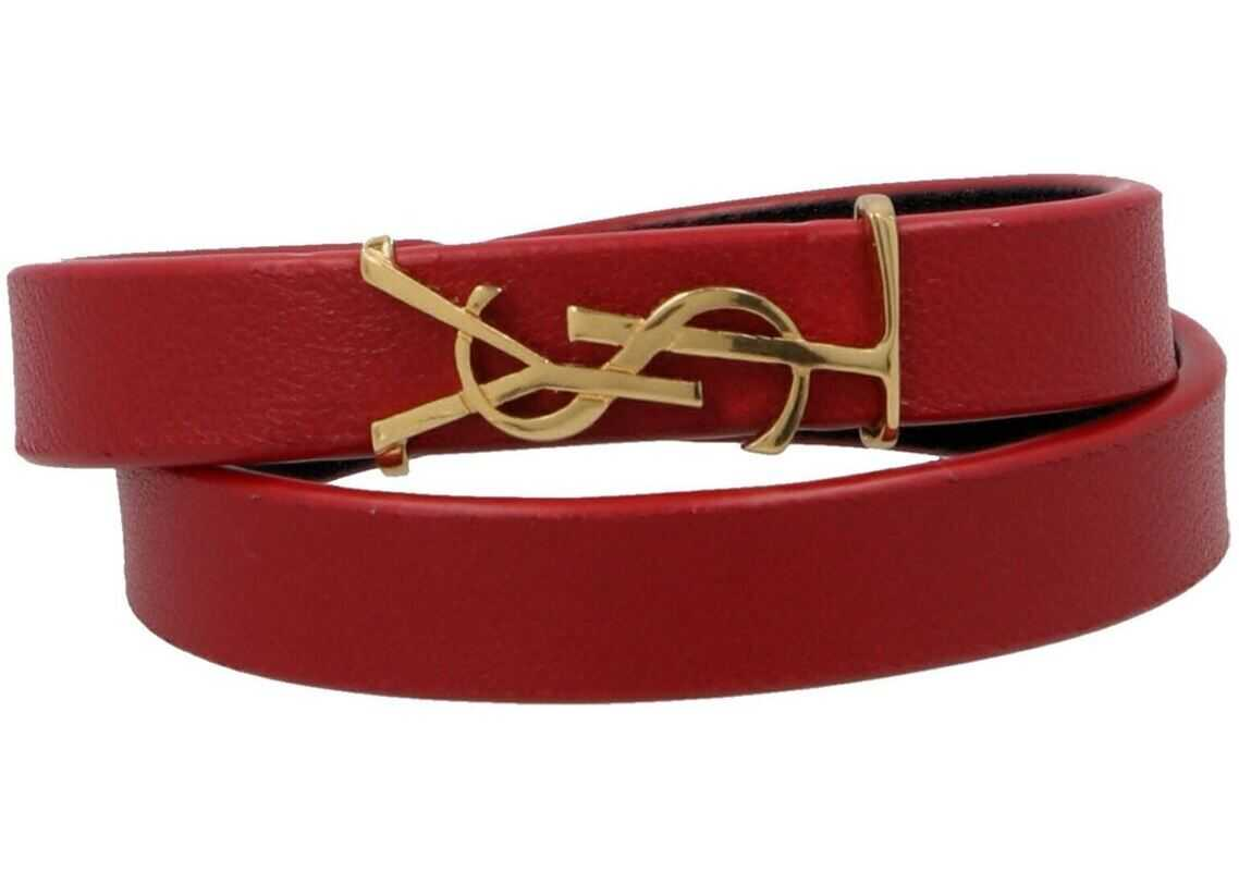 Saint Laurent Leather Bracelet In Red Red