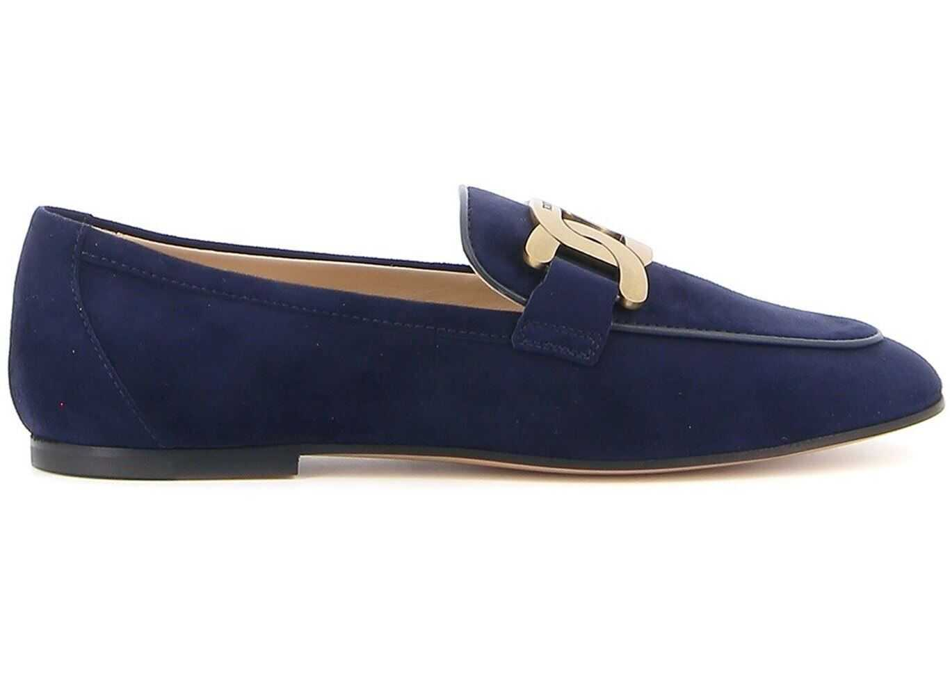 TOD'S Suede Slippers In Blue XXW79A0DD00D8WU824 Blue imagine b-mall.ro