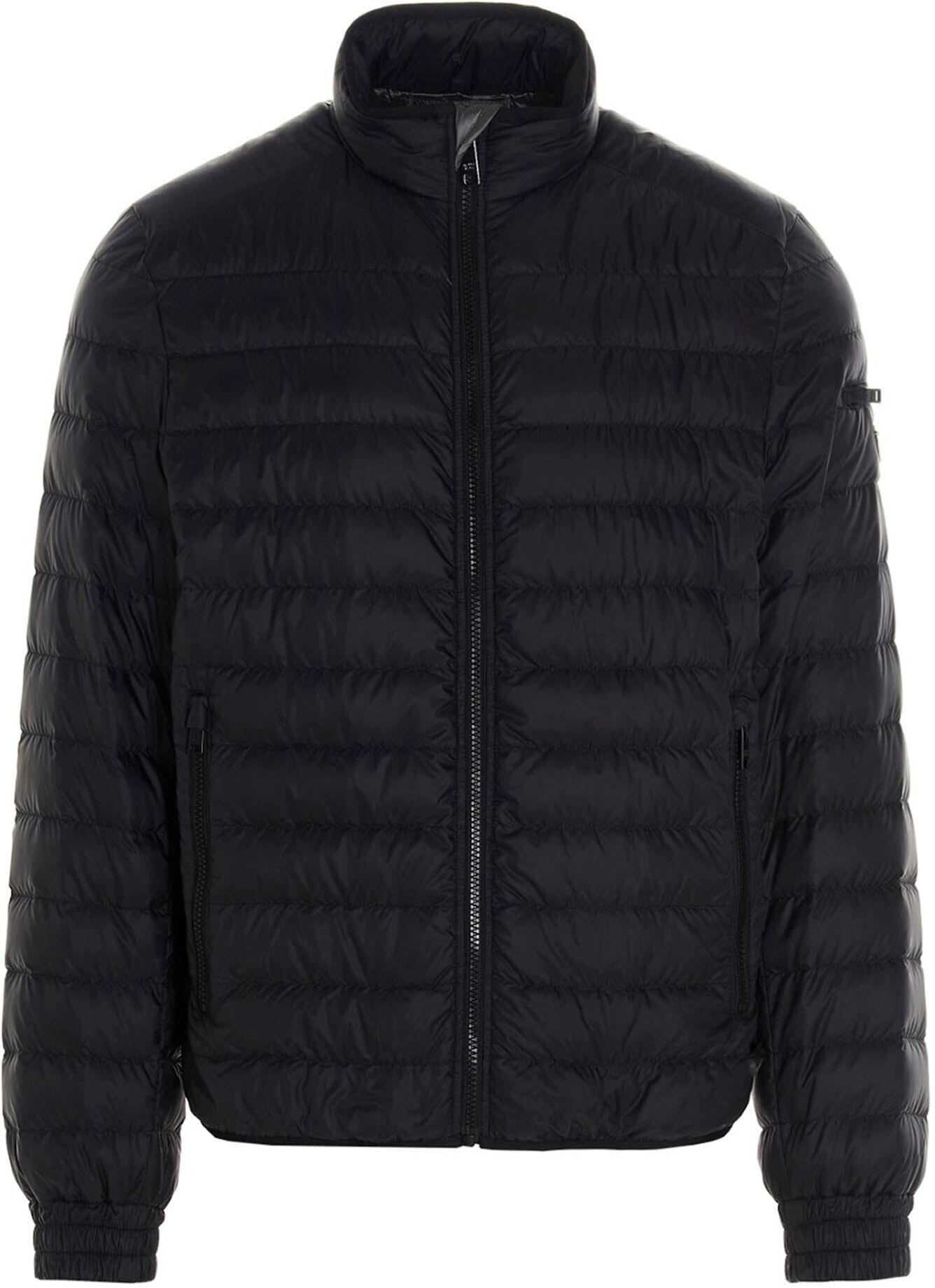Prada Technical Eggshell Jacket In Black Black imagine